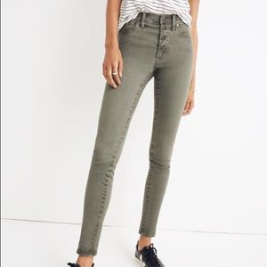 "Madewell Garment Dyed 9"" High Rise Olive Skinny"